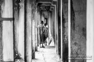 Young Monks strolling through the temple